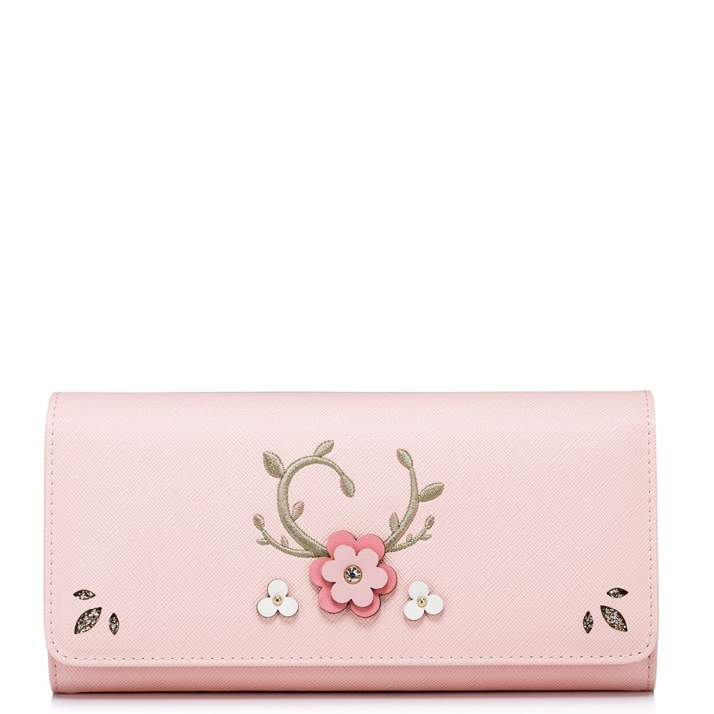 ФОТО 2017 New Arrived Fashion Embroidery Collage Flower PU Women Leather Girls Ladies Long Wallets Cards Holder Purse Clutches