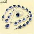 XUTAAYI Top Qualidade 925 Conjuntos de Jóias de Prata Azul Criado Sapphired Impecável Colar/Anéis/Brincos/Pulseira Para as mulheres