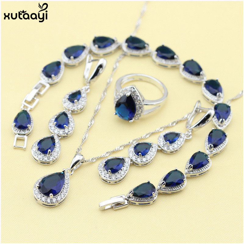 XUTAAYI Top Qualität 925 Silber Schmuck Sets Blau Erstellt Sapphired Flawless Halskette / Ringe / Ohrringe / Armband Für frauen