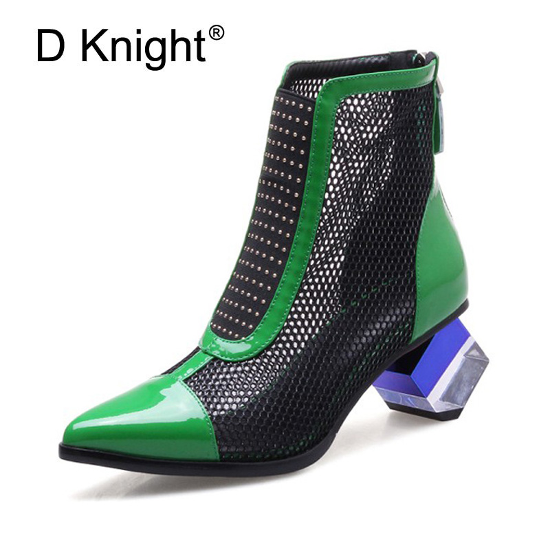 купить Fashion Ankle Boot Genuine Leather Mesh Breathable High Heels Short Boots Pointed Toe Spring Lady Boot Shoes Summer Woman Shoes по цене 3298.1 рублей