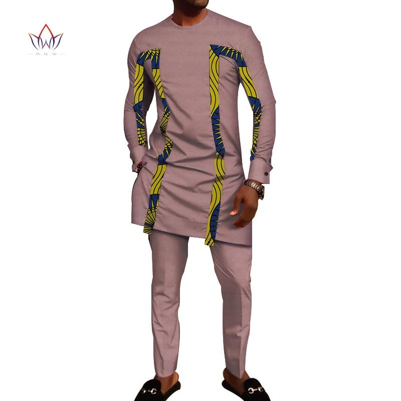 Bazin Riche hommes 2 pièces pantalons ensembles vêtements africains vêtements décontracté hommes Jacquard t-shirts et pantalons ensembles WYN710 - 3