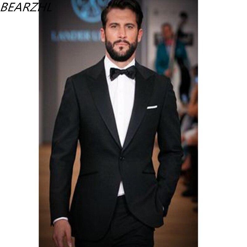 Мужской костюм пиковый воротник смокинг черная одежда жениха высокого качества костюмы под заказ 2019
