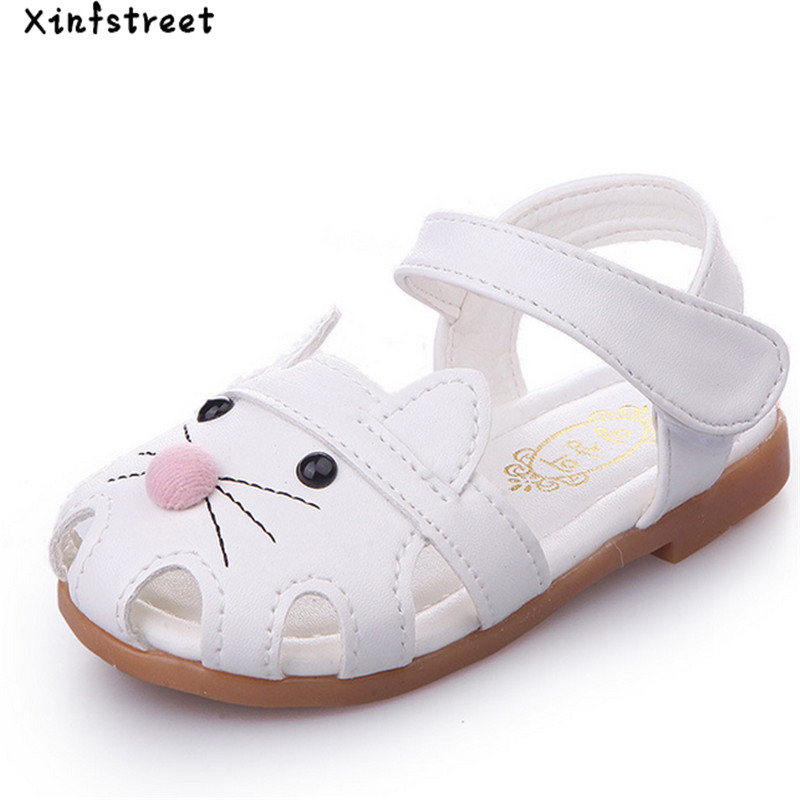 Baby Sandals Girls Summer 2018 Girls Shoes Cute Cat Soft Toddler Sandals Girls Size 21-30
