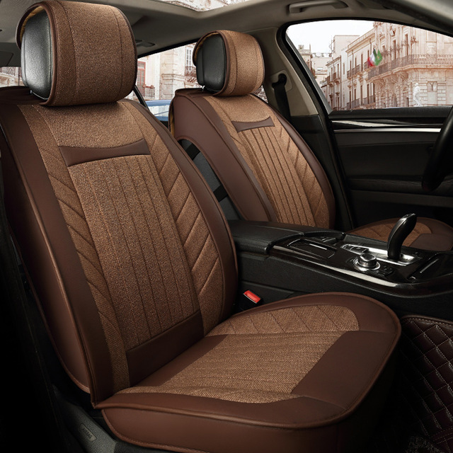 Stitching Design Breathable Linen Fabric Universal Car Seat Covers Wearable Comfortable Leather