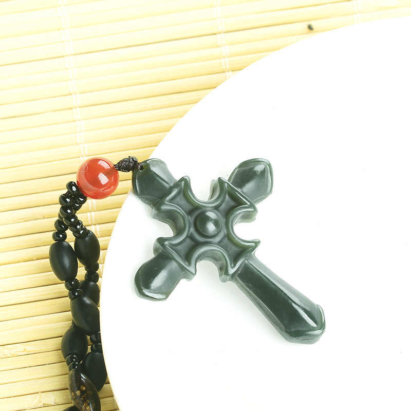 Wholesale price authentic natural and Hetian stone pendant carved green  cross pendant men and women jewelry JADES jewelry beads