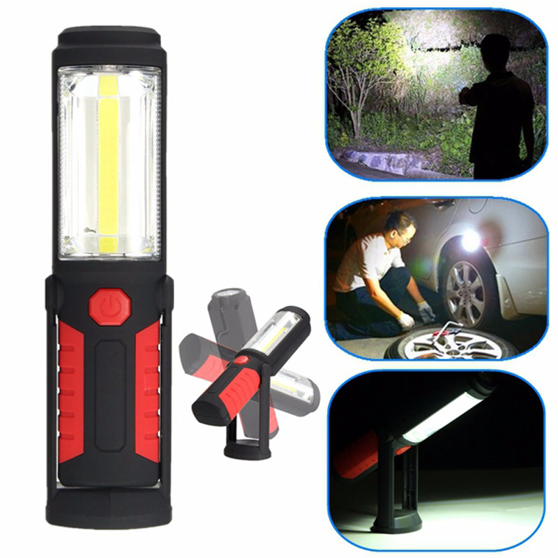Powerful COB LED Flashlight Portable 3000 Lumens Magnetic Rechargeable Work Light 360 Degree Stand Hanging Torch Lamp For Work