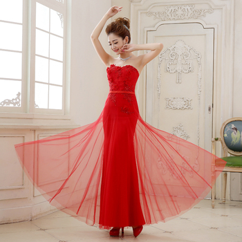 Long Tulle Evening Dresses 2020 New Arrival Red Bride Gown Ball Prom Party Homecoming/Graduation Princess Mermaid Formal Dress