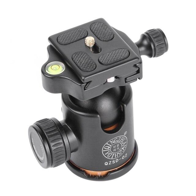 """Original QZSD Q02 Camera Tripod 36mm Ball Head Ballhead with Quick Release Plate 1/4"""" Screw Max Load 8kg / Q999 Q666 Tripod Head"""