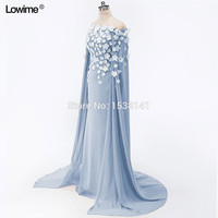 Evening Party Off the shoulder Kaftans Long with Handy-made Flowers Saudi Arabic Evening Dresses Lady Prom 2017 Party Dresses