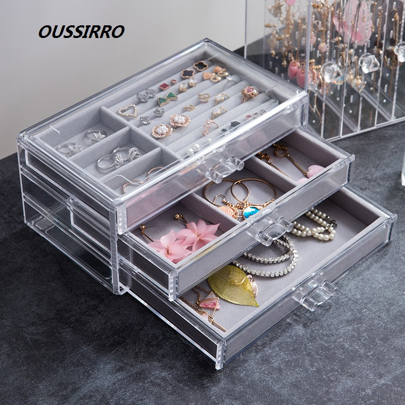 OUSSIRRO Portable Jewelry Case Packing Plastic Box Makeup Organizer Cosmetic Box& Travel Earring Ring Casket