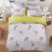 A:White lattice Elephant B:Lemon yellow lattice sided Printed Bedding Sets super king Size Bed Sheet Duvet Cover Set pillowcases