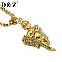 D & Z Hiphop Colore Dell'oro Angelo Collana Pavimentazione Strass Acciaio Inossidabile Dei Pendenti delle Collane per Gioielli Ebraico