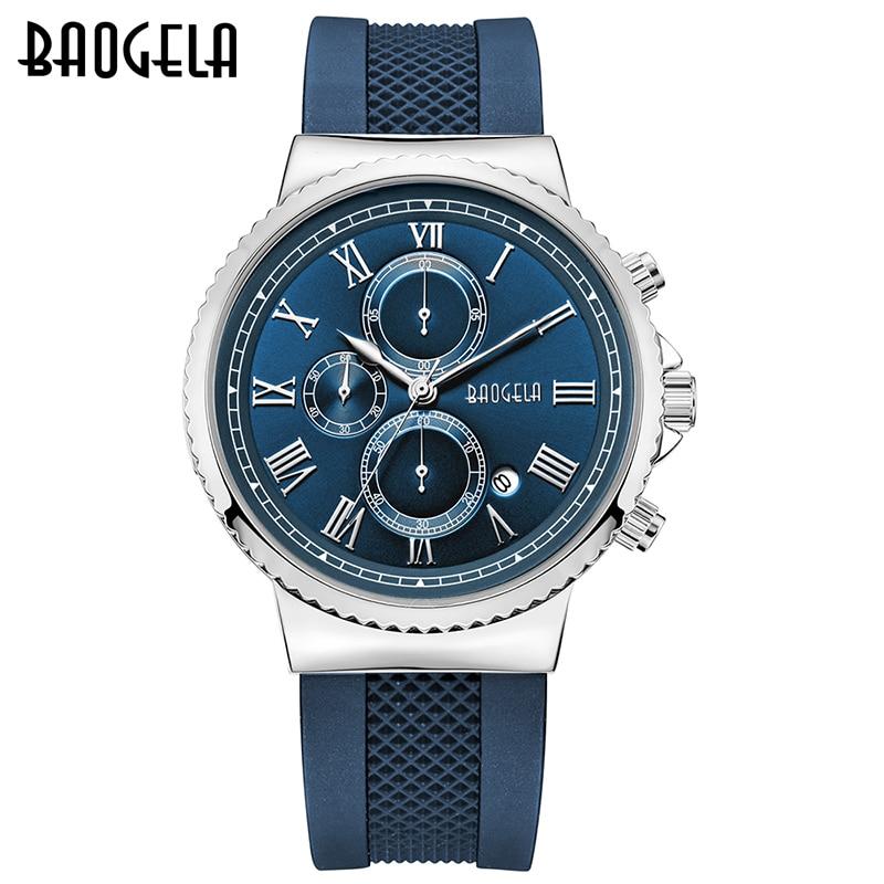 BAOGELA Mens Quartz Watch silicone Band Slim Men Watch Fashion Sports military business Wrist watch1708 super speed v0169 fashionable silicone band men s quartz analog wrist watch blue 1 x lr626