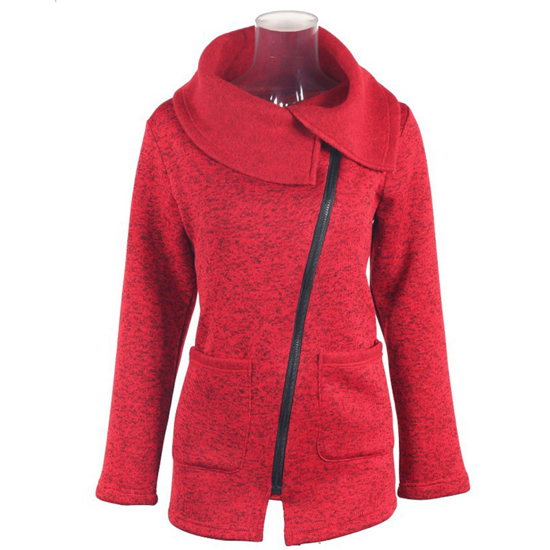 Plus Size 5XL Women Autumn Winter Clothes Warm Fleece Jacket Slant Zipper Collared Coat Lady Clothing Female Jacket
