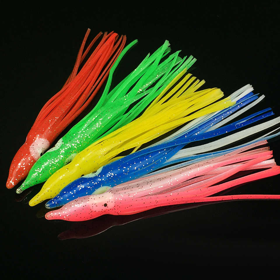 5 piunids/lote señuelos suaves de pesca de pulpo para Jigs Color mixto faldas luminosas de pulpo cebo Artificial falda de calamar pulpo