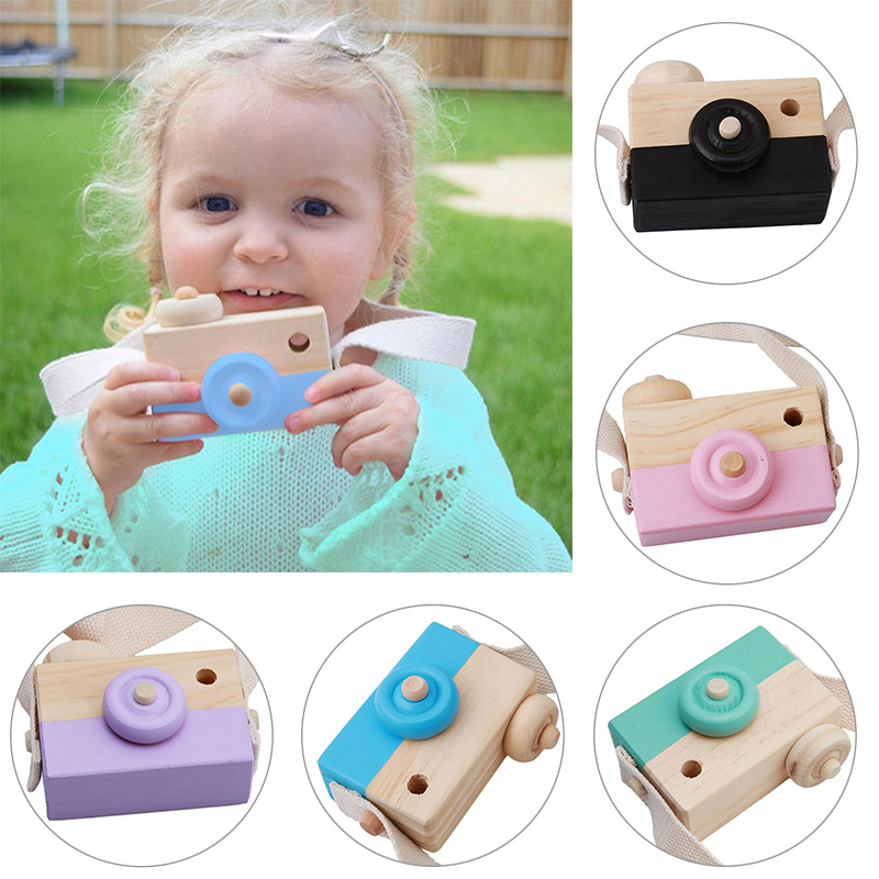 Portable Wood Safe Baby Kids Playing House Photo Props Wooden Camera Toy Birthday Christmas Gift Children Room Decor