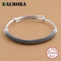 BALMORA Solid 925 Sterling Silver Ethnic Bangles For Women Men Gift Simple Fashion Bracelets Silver Jewelry