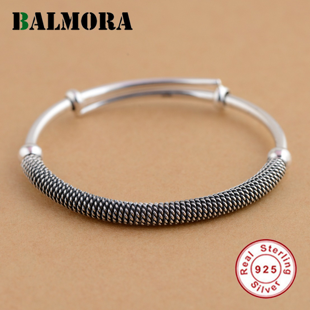 BALMORA Solid 925 Sterling Silver Ethnic Bangles for Women Men Gift Simple Fashion Bracelets Silver Jewelry Accessories SZ0238 ethnic wind bracelets men and women decorations green agate 925 silver ball duobao string original jewelry