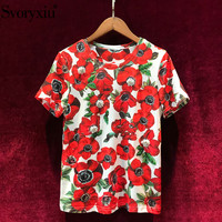 Svoryxiu Summer High Quality Runway Women's Cotton T shirt Flower Printing Luxurious Beading Diamond Leisure Top Women