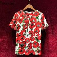 Svoryxiu Summer High Quality Runway Women's Cotton T shirt Flower Printing Luxurious Beading Diamond Leisure Top Women