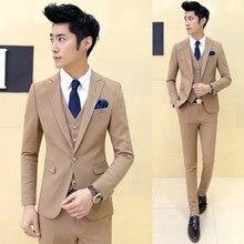 ( Jacket + Pants ) 2018 Men's Fashion Boutique Cotton Solid Color Suit Groom Wedding Dress Suits Male Formal Business Suits Men