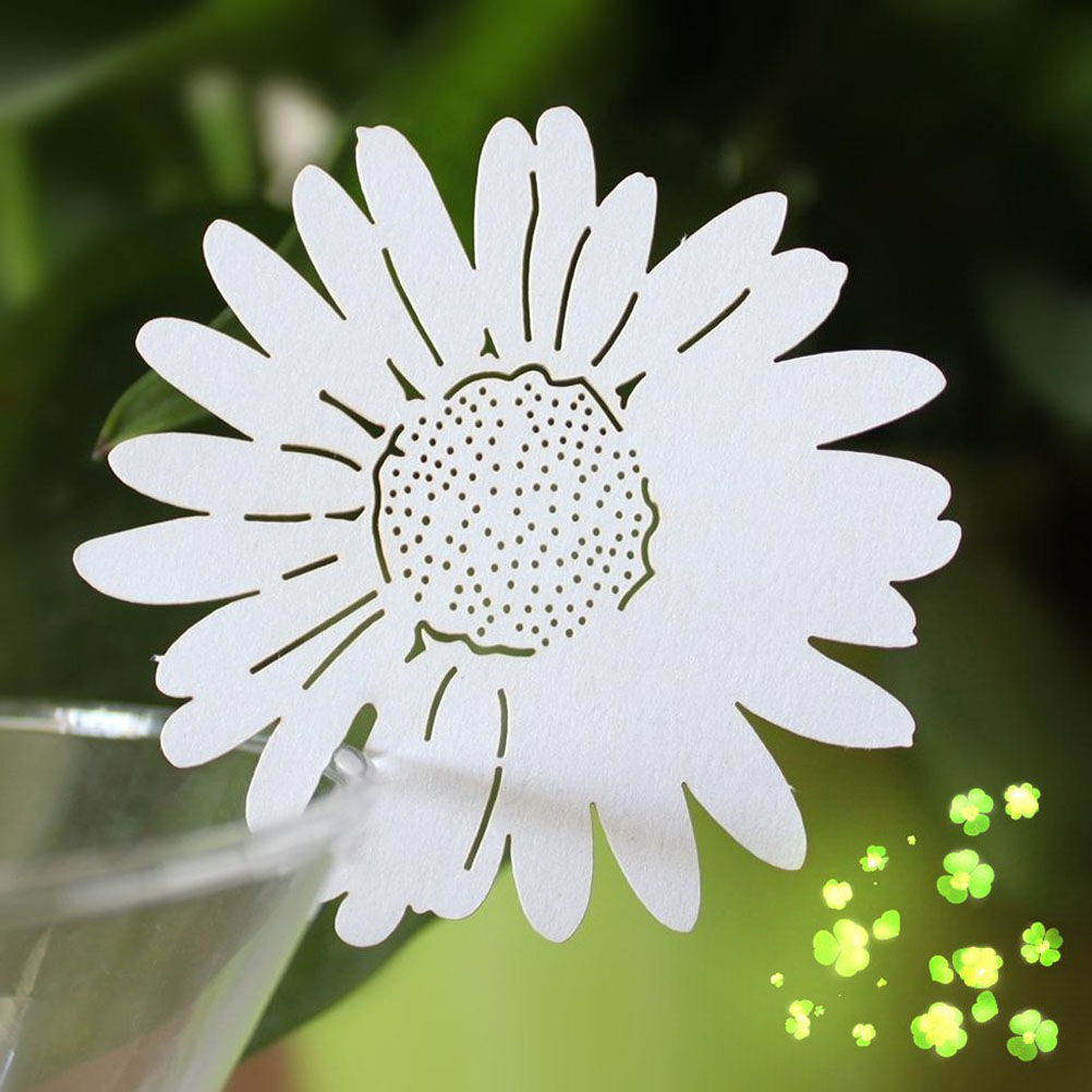 Free shipping 50pcs daisy flower table name place card wine glass description izmirmasajfo