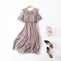 Silk cotton solid butterfly sleeve elastic waist loose beach long dress 2018 new high quality office lady women summer dress
