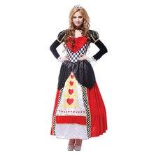Mais tamanho alice no país das maravilhas rainha dos corações trajes para mulher traje sexy real cosplay roupas feminino halloween fantasia vestido