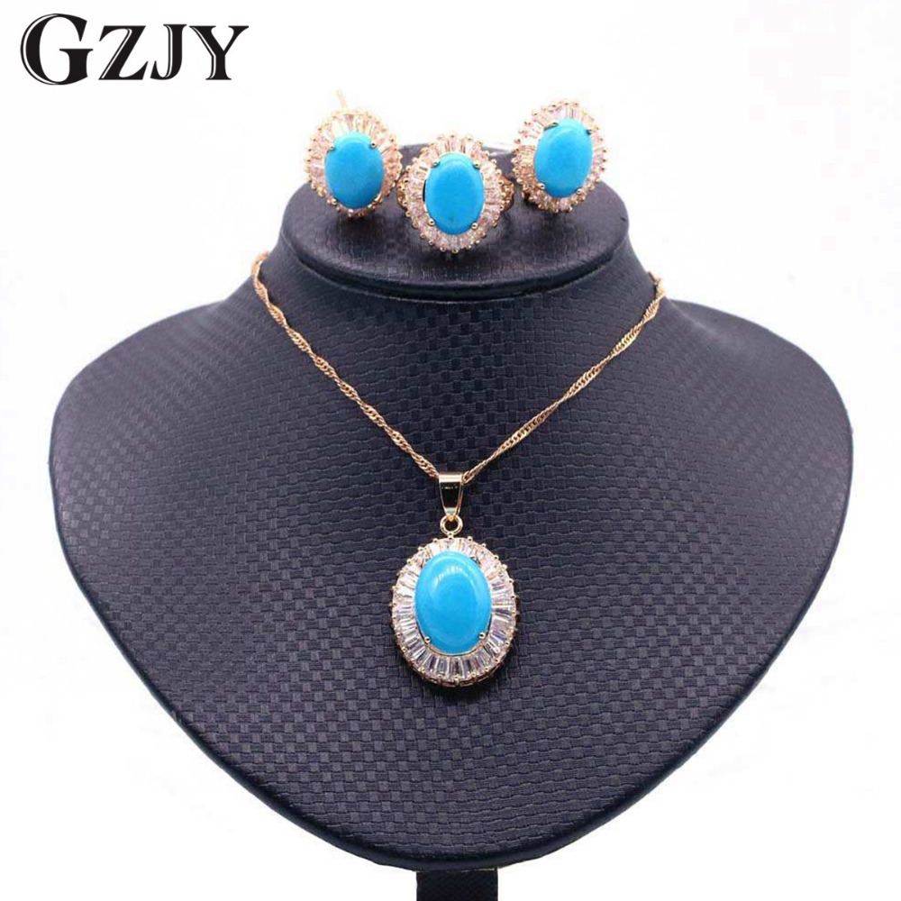 GZJY Fashion Gold Color Round Blue Stone Zircon Necklace Pendant Earring Ring Set For Women Wedding Gift dubai jewelry set women s elegant pendant necklace ring w zircon ornament set golden green