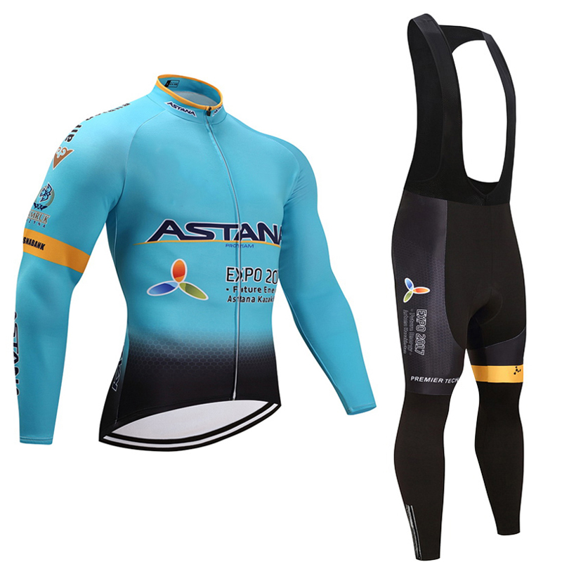 Spring autumn 2018 team astana long sleeve cycling jersey set Ropa Ciclismo breathable racing bike clothing MTB Bike 9D gel padSpring autumn 2018 team astana long sleeve cycling jersey set Ropa Ciclismo breathable racing bike clothing MTB Bike 9D gel pad