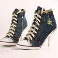Europa Mais Recente estilos Rebites azul Denim lona sapatos de salto alto Grande tamanho 41 42 Saltos Altos das mulheres bombeia Sapatas Das Mulheres moda casual obuv
