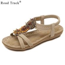6e8fe5ed800a20 Road Track Women Sandals Summer Bohemian Fashion Large Size String Bead  Beach Sandals Ladies Flat Sandals
