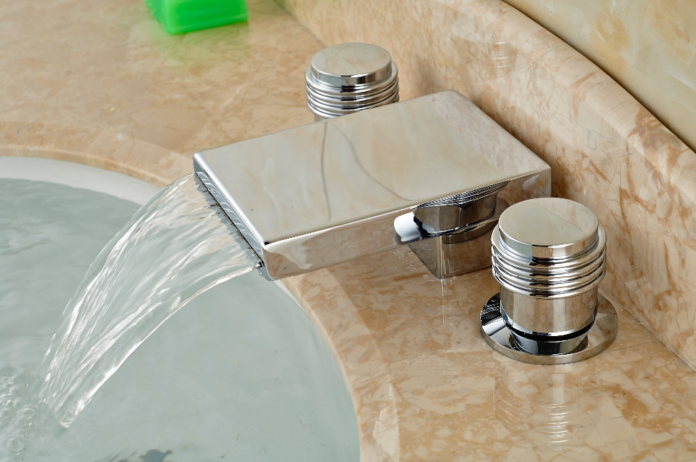 Deck Mounted Chrome Brass Square Faucet Bathroom Vanity Sink Mixer Tap 2 Handles