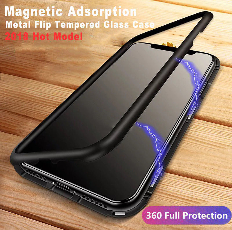 YISHANGOU Magnetic Adsorption Case for iPhone X 8 Plus Metal Bumper Tempered Glass Hybrid Shockproof Cover For iPhone 10 7 Plus