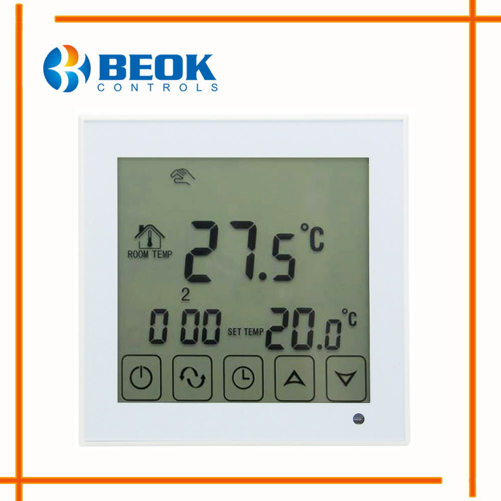 US $20 05 28% OFF|BOT 323W Programmable Large Touch Screen Boiler  Thermoregulator Wall Mounted Blue&White Backlight Gas Boiler Heating  Thermostat-in