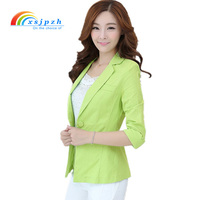 XSJPZH New Women Cotton Linen Blazers Spring Summer Ladies Suit Jacket Coat 3 4 Sleeve Feminino