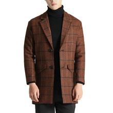 2018 Winter Long Wool Coat Men Fashion Turn down Collar Wool Blend Single Breasted Coat Men