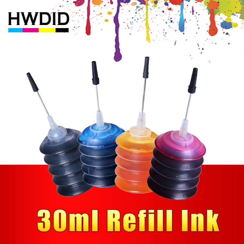 HWDID 4 Pcs Universal 30ml dye ink K C M Y Refill Ink kit For HP for Canon for Brother for Epson for Lexmark printer Cartridge