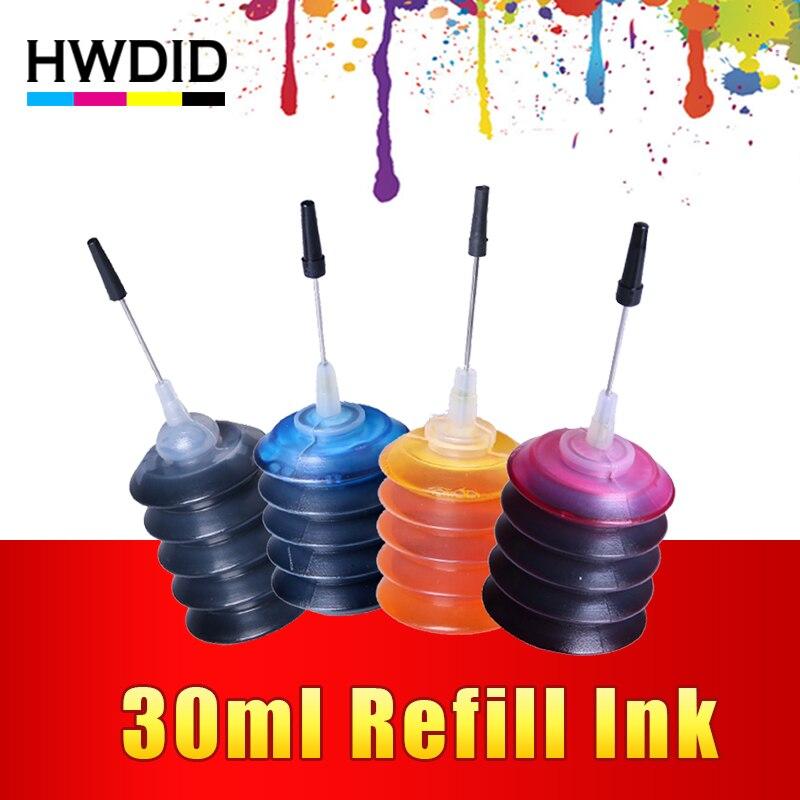 HWDID 4 piezas Universal 30 ml tinte K C M Y kit de recarga de tinta para HP para Canon para brother para Epson para impresora Lexmark cartucho