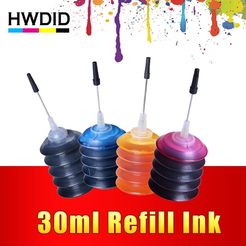 Hwdid 4 unids universal 30 ml tinte K C m y kit de recarga de tinta para HP para Canon para brother para Epson para impresora lexmark cartucho