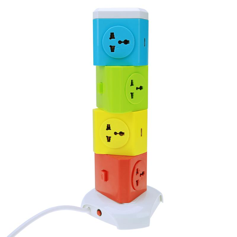 2/3/4 Layer Universal Smart Electrical Plugs Vertical Power Socket Outlet AC Power Suit + 2 USB Ports 1.8M Length Cable US