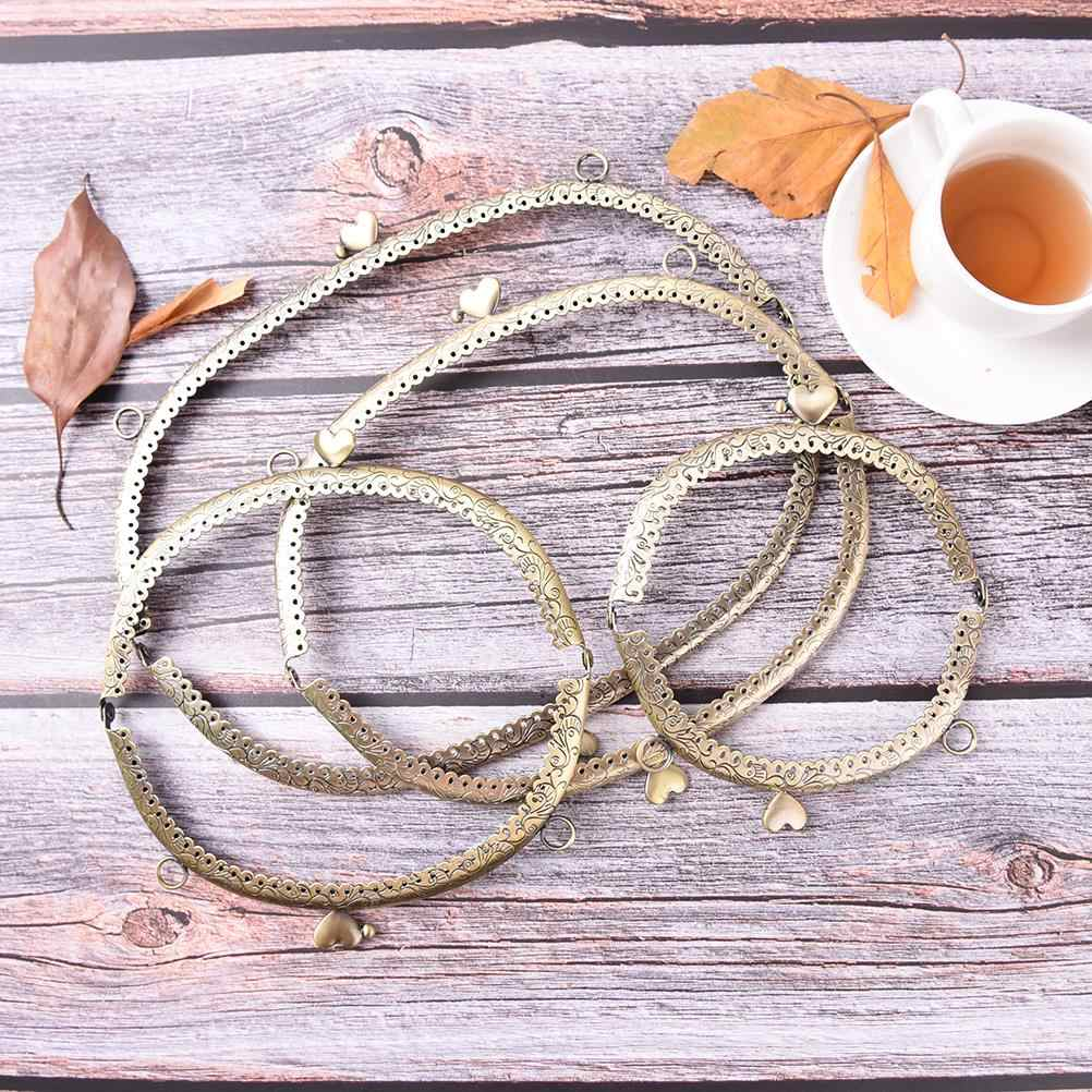 4 tamaños corazón DIY bolso de mano manija monedero Metal beso Cierre de broche manija del marco arco para DIY bolso asa a la moda