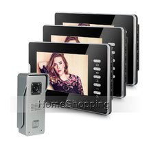 Brand New Home Security Wired 7 inch Color Video Door Phone Intercom System 3 Monitors + 1 Waterproof Door Camera FREE SHIPPING