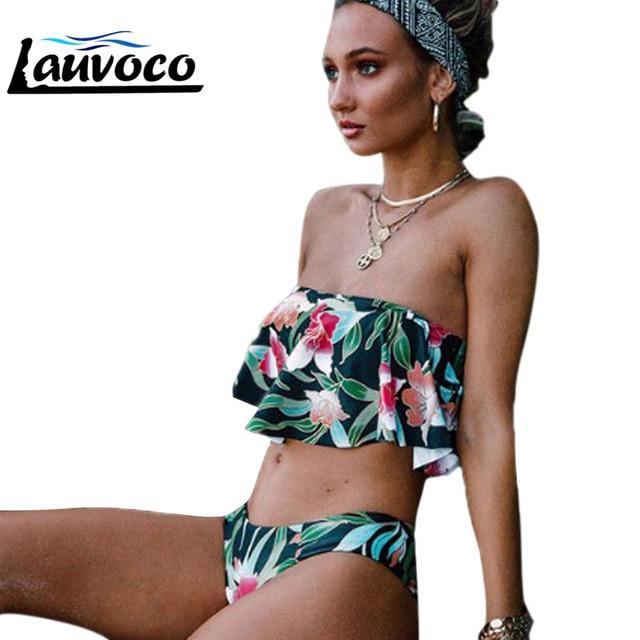 45b6f4da01 2019 New Two Pieces Women's Swimsuit Off Shoulder Print Sexy Bikini Set Summer  Beachwear Bathing Suit Sexy Lady's Swimwear S-XL
