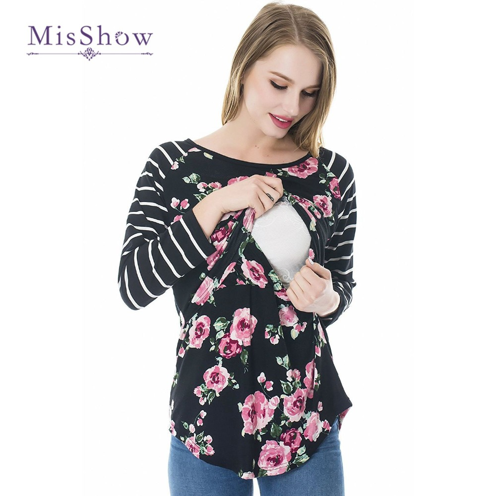 Flower Printed Long Sleeves Women Maternity T Shirts Black -1177