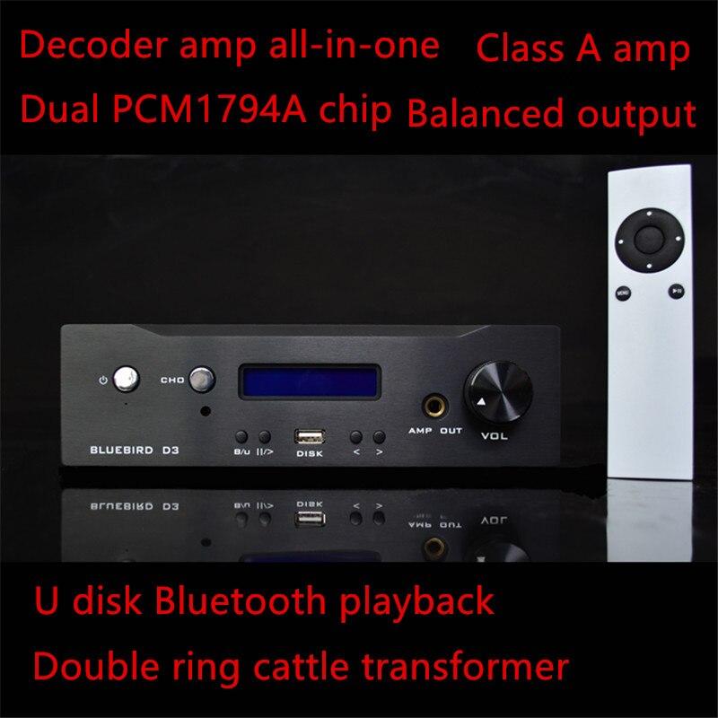 AKM4118 LM2596 LM317 LM337 PCM1794A SA9023 XMOS équilibré sortie coaxial fiber U disque Bluetooth décodeur Une classe hifi amp machine