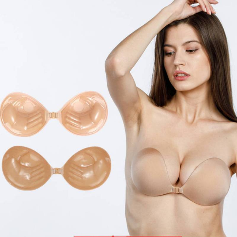 Women's Sexy Front Buckle Palm No Shoulder Strap Silicone Chest Stickers Invisible Gathering To Enhance The Breathable Bra