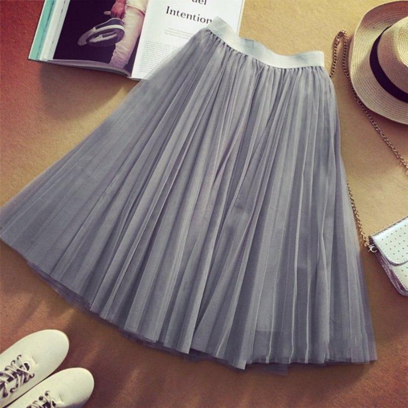 Women Skirt Lolita Ball Gown Saia Net Yarn Loose Solid Colour Elastic Band Skirt Girl Saias Sweet Skirts Womens Faldas