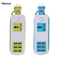 150 cm 6 USB Cảng Du Lịch Power Adapter AC100-240V 50/60Hz ổ cắm Tường Thông Minh Charger w/USB Hubs Cho Điện Thoại Di Động Tablet