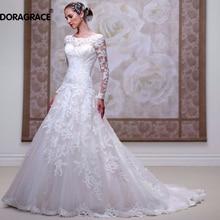 Vintage Long Sleeve Wedding Dresses Applique Tulle A Line Gowns Vestido de Noiva DG0007